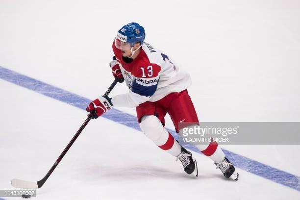 Czech Republics forward Jakub Vrana controls the puck during the IIHF Men's Ice Hockey World Championships Group B match between Norway and Czech...