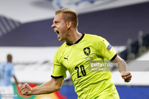 Czech Republic's forward Matej Vydra celebrates his goal during the UEFA Nations League Group B2 football match between the Israel and Czech Republic...