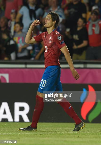 Czech Republic's forward Patrik Schick celebrate scoring during the UEFA Euro 2020 qualifier Group A football match Czech Republic against Bulgaria...