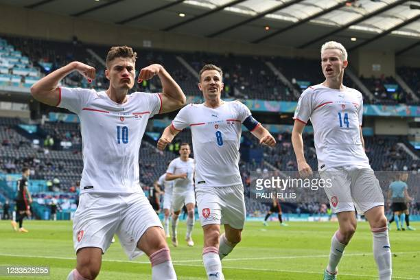 Czech Republic's forward Patrik Schick celebrates after scoring the opening goal from the penalty spot during the UEFA EURO 2020 Group D football...