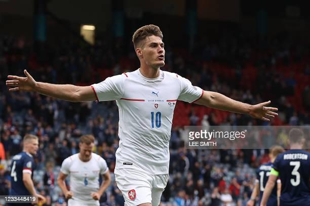 Czech Republic's forward Patrik Schick celebrates scoring his team's first goal during the UEFA EURO 2020 Group D football match between Scotland and...