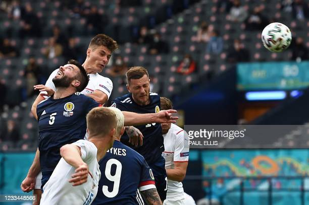 Czech Republic's forward Patrik Schick heads the ball to score the first goal during the UEFA EURO 2020 Group D football match between Scotland and...