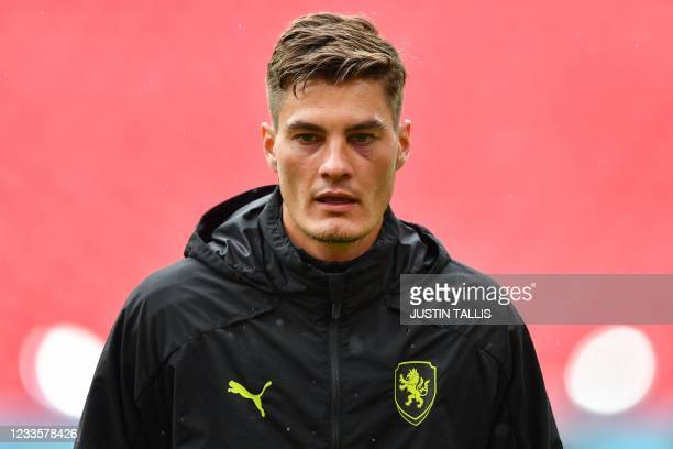 Czech Republic's forward Patrik Schick takes part in their MD-1 training session at Wembley Stadium in London on June 21 the eve of their UEFA EURO...