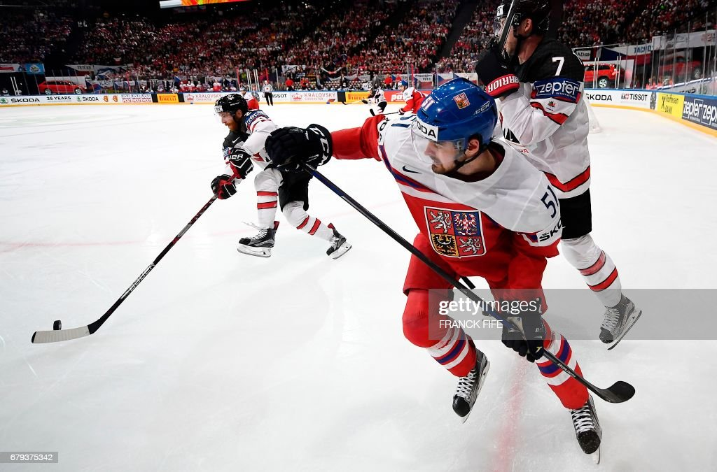 TOPSHOT - Czech Republic's forward Roman Horak (C) challenges Canada's defender Josh Morrissey during the IIHF Men's World Championship group B ice hockey match between the Czech Republic and Canada in Paris on May 5, 2017. /