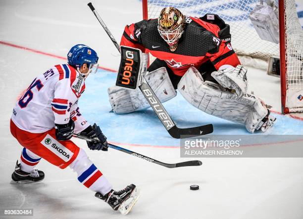 Czech Republic's forward Tomas Mertl vies with Canada's goaltender Barry Brust during the Channel One Cup of the Euro Hockey Tour ice hockey match...