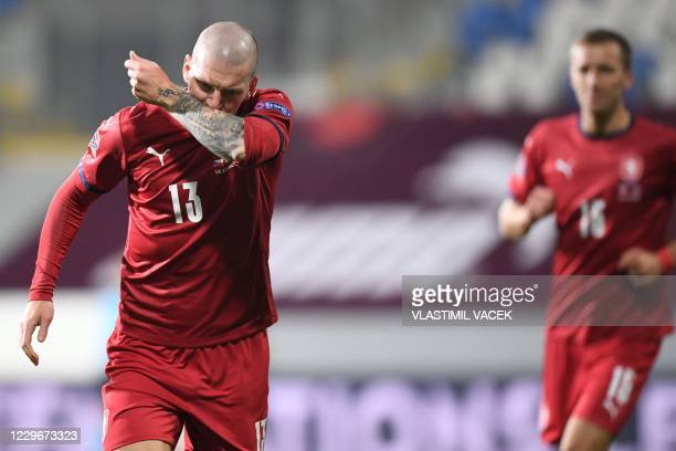 Czech Republic's forward Zdenek Ondrasek celebrates scoring during the UEFA Nations League football match Czech Republic v Slovakia in Plzen on...