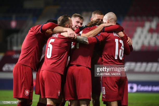 Czech Republic's forward Zdenek Ondrasek celebrates scoring with his team-mates during the UEFA Nations League football match Czech Republic v...