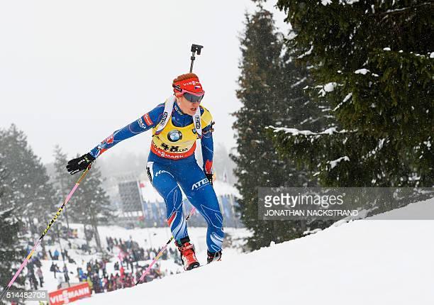 Czech Republics Gabriela Soukalova competes in the Women 15 km Individual event at the IBU World Championships Biathlon competition in Oslo...