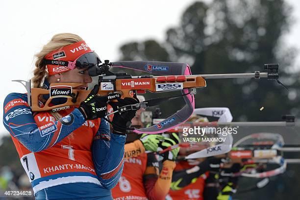 Czech Republic's Gabriela Soukalova shoots during the women's 125 km mass start event of the Biathlon Word Cup in the Siberian city of KhantyMansiysk...