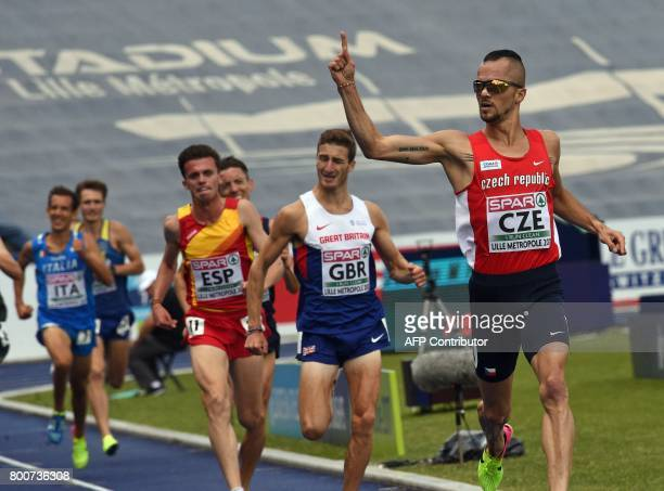Czech Republic's Jakub Holusa reacts after winning the men's 3000 metre event on June 25 2017 during the European Athletics Team Championships at the...