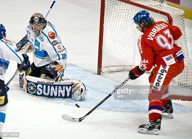 Czech Republic's Jakub Voracek is about to score 0-1 behind Finland's goalie Harri Sateri during the LG Hockey Games at Stockholm Globe Arena on May...