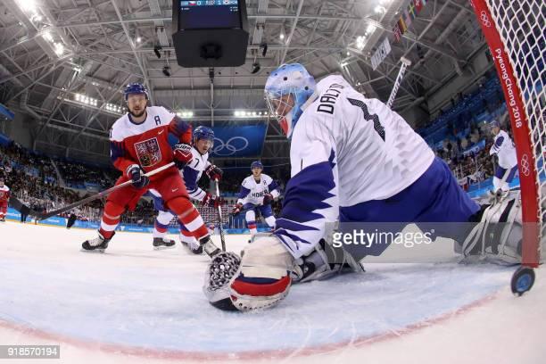 Czech Republic's Jan Kovar scores on South Korea's Matt Dalton in the men's preliminary round ice hockey match between South Korea and Czech Republic...