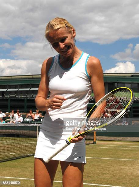 Czech Republic's Jana Novotna after playing with partner Helena Sukova after beating South Africa's Ilana Kloss and USA's Rosalyn Nideffer in the...