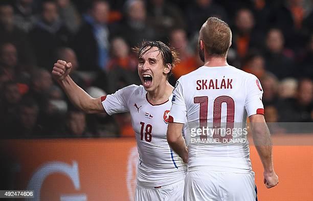 Czech Republic's Josef Sural celebrates after scoring a goal during the Euro 2016 qualifying football match between The Netherlands vs Czech Republic...