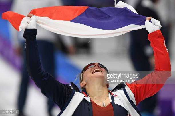 TOPSHOT Czech Republic's Karolina Erbanova reacts after winning bronze in the women's 500m speed skating event during the Pyeongchang 2018 Winter...