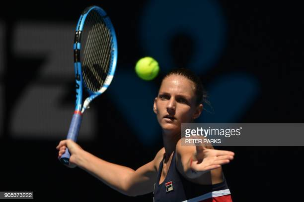 Czech Republic's Karolina Pliskova hits a return against Paraguay's Veronica Cepede Royg during their women's singles first round match on day two of...
