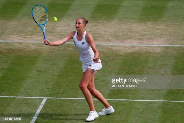 Czech Republic's Karolina Pliskova returns against Czech Republic's Karolina Muchova during their women's singles fourth round match on the seventh...