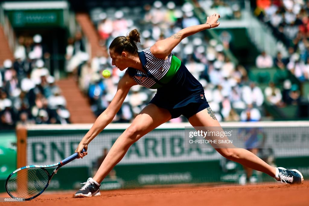 Czech Republic's Karolina Pliskova returns the ball to France's Caroline Garcia during their tennis match at the Roland Garros 2017 French Open on June 7, 2017 in Paris. /