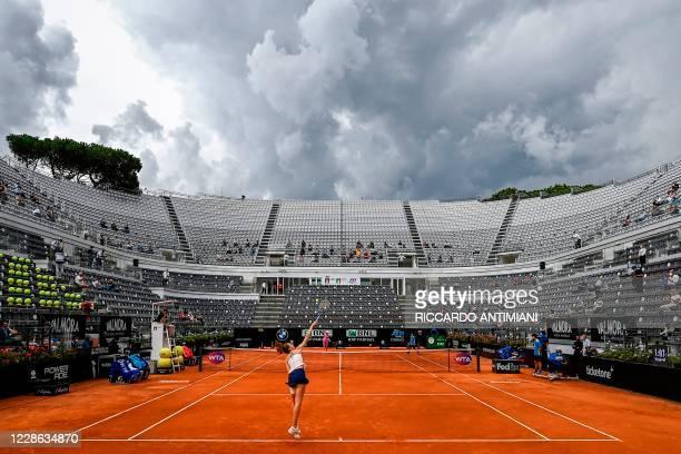 Czech Republic's Karolina Pliskova serves to Romania's Simona Halep during the final match of the Women's Italian Open at Foro Italico on September...