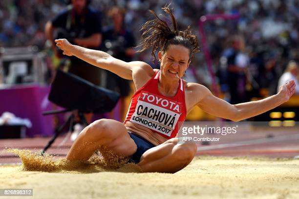 Czech Republic's Katerina Cachova competes in the long jump of the women's heptathlon athletics event at the 2017 IAAF World Championships at the...