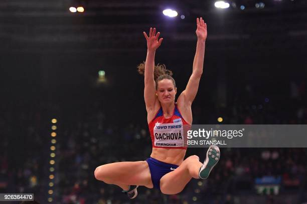 Czech Republic's Katerina Cachova competes in the women's long jump pentathlon event at the 2018 IAAF World Indoor Athletics Championships at the...