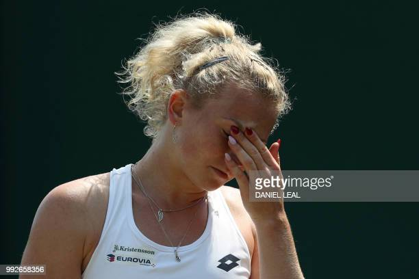 Czech Republic's Katerina Siniakova reacts against Italy's Camila Giorgi during their women's singles third round match on the fifth day of the 2018...