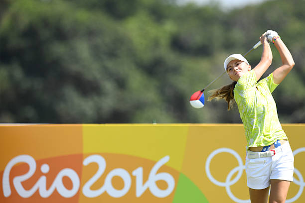 Czech Republic's Klara Spilkova competes in the Women's individual stroke play at the Olympic Golf course during the Rio 2016 Olympic Games in Rio de...