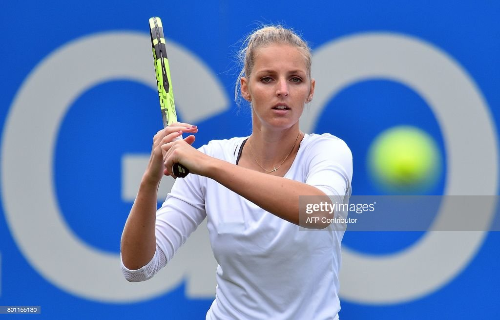 Czech Republic's Kristyna Pliskova returns to Britain's Naomi Broady during their women's singles first round tennis match at the ATP Aegon International tennis tournament in Eastbourne, southern England, on June 26, 2017. /