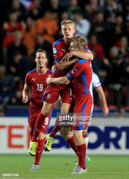 Czech Republic's Ladislav Krejci celebrates scoring his team's first goal of the match with teammate Jakub Brabec