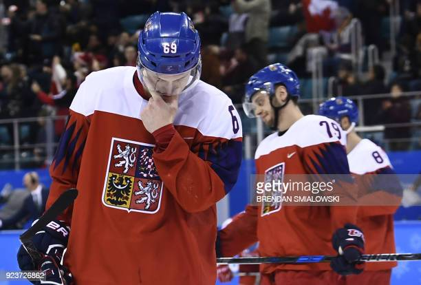 Czech Republic's Lukas Radil reacts after loosing the men's bronze medal ice hockey match between the Czech Republic and Canada during the...