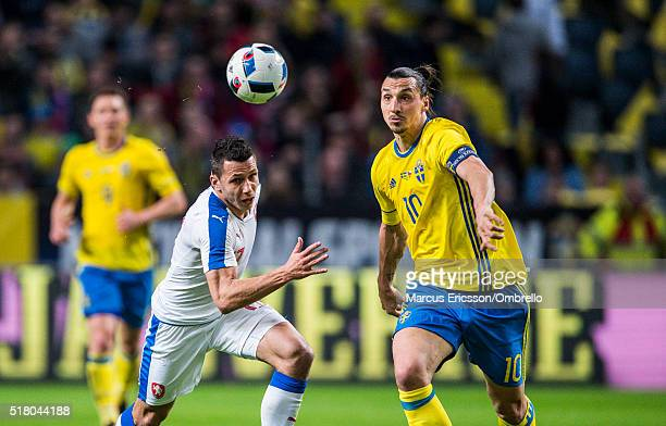 Czech Republics Marek Suchý and Swedens Zlatan Ibrahimovic during the international friendly between Sweden and Czech Republic at Friends Arena on...