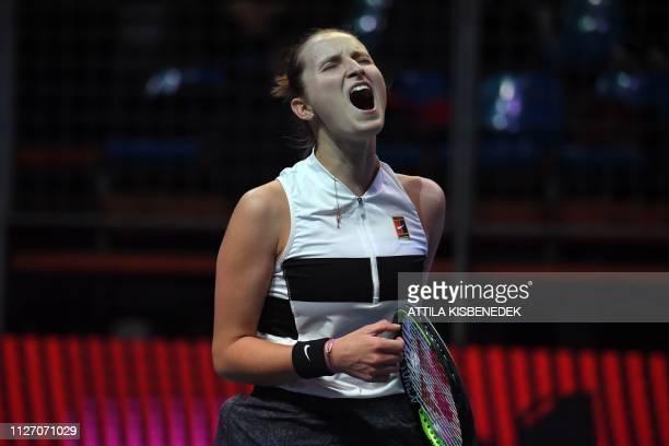 Czech Republic's Marketa Vondrousova celebrates aftr a point against Belgium's Alison Van Uytvanck during their final match at the WTA Hungarian Open...
