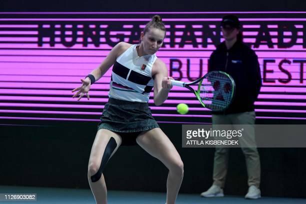 Czech Republic's Marketa Vondrousova returns the ball to Russia's Anastasia Potapova during their semifinal match of the WTA Hungarian Open Ladies'...