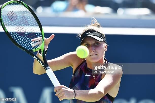 Czech Republic's Marketa Vondrousova returns the ball to Russia's Svetlana Kuznetsova during their 2017 US Open Women's Singles match at the USTA...
