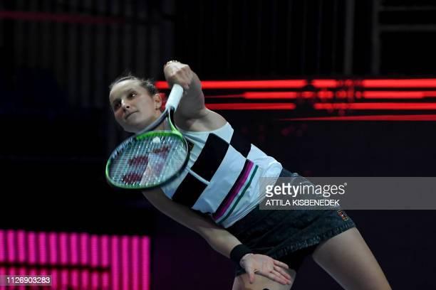 Czech Republic's Marketa Vondrousova serves the ball to Russia's Anastasia Potapova during their semifinal match of the WTA Hungarian Open Ladies'...