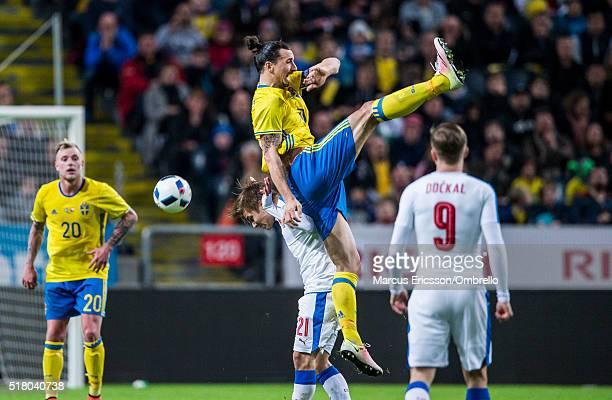 Czech Republics Martin Frydek pushes Swedens Zlatan Ibrahimovic during the international friendly between Sweden and Czech Republic at Friends Arena...