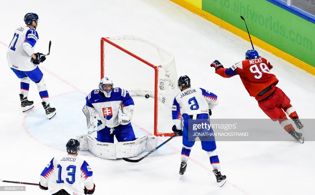 Czech Republic's Martin Necas (R) celebrates after scoring the equaliser goal past Slovakia's goalie Marek Ciliak seconds before the end of the 2018 IIHF Men's Ice Hockey World Championship match between Czech Republic and Slovakia on May 5, 2018 in Copenhagen.