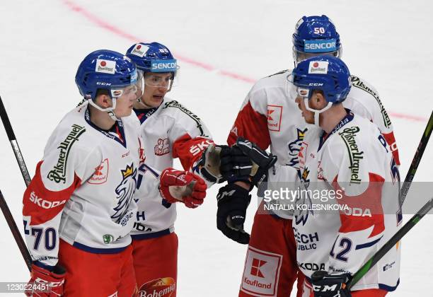 Czech Republic's Matej Blumel celebrates his goal with teammates during the Channel One Cup of the Euro Hockey Tour ice hockey match between Sweden...