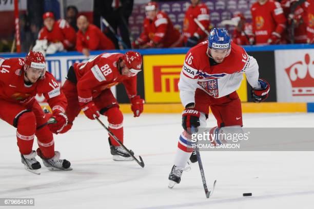 Czech Republic's Michal Birner controls the puck during the IIHF Men's World Championship group B ice hockey match between Belarus and Czech Republic...