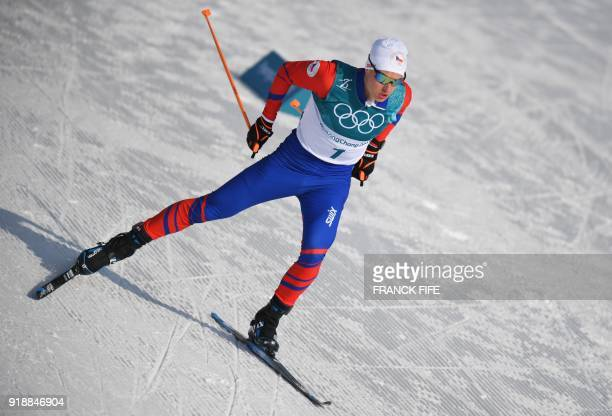 Czech Republic's Michal Novak competes during the men's 15km cross country freestyle at the Alpensia cross country ski centre during the Pyeongchang...