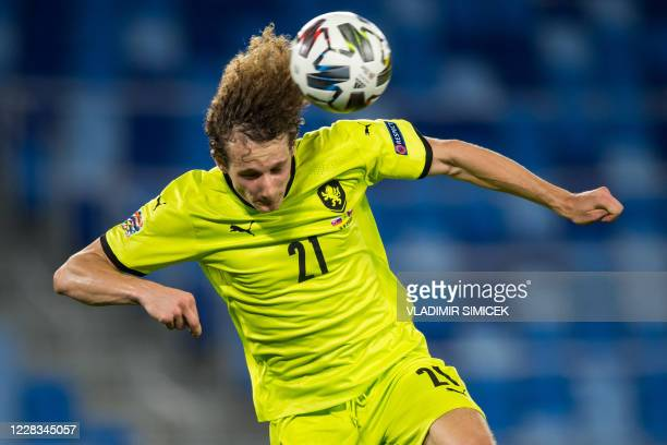 Czech Republic's midfielder Alex Kral vies for the ball during the UEFA Nations League football match between Slovakia and Czech Republic in...