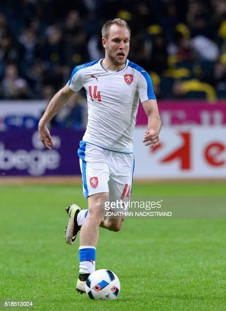 Czech Republic's midfielder Daniel Kolar controls the ball during a friendly football match between Sweden and Czech Republic at the Friends Arena in...