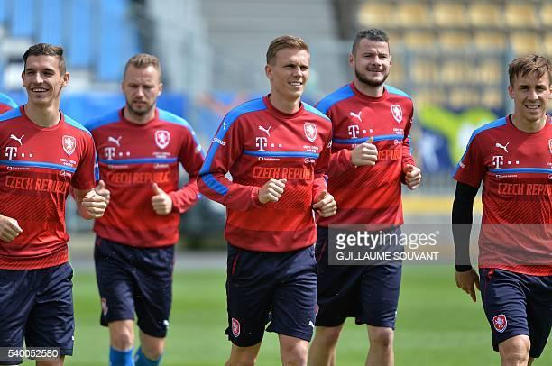 Czech Republic's midfielder David Pavelka Czech Republic's midfielder Daniel Kolar Czech Republic's midfielder Borek Dockal Czech Republic's defender...