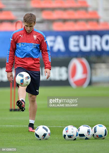 Czech Republic's midfielder Josef Sural attends a training session of the national football team at their training ground ahead of the Euro 2016...