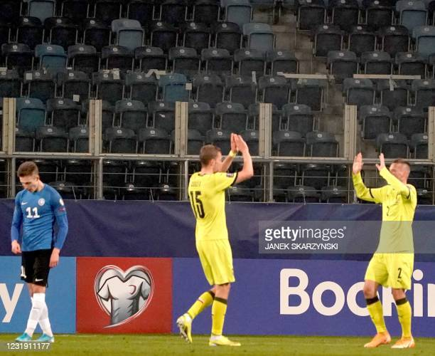 Czech Republic's midfielder Tomas Soucek celebrates scoring with Czech Republic's defender Pavel Kaderabek during the FIFA World Cup Qatar 2022...
