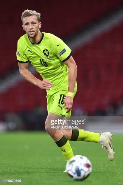 Czech Republic's midfielder Tomas Soucek plays the ball during the UEFA Nations League group B2 football match between Scotland and Czech Republic at...