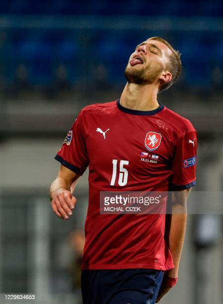 Czech Republic's midfielder Tomas Soucek reacts during during the UEFA Nations League football match Czech Republic v Israel in Plzen on November 15,...
