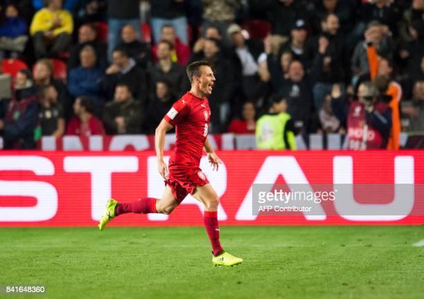 Czech Republic´s midfielder Vladimir Darida celebrates scoring during the FIFA World Cup 2018 qualification football match between Czech Republic and...