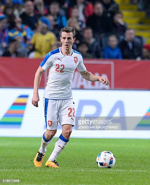 Czech Republic's midfielder Vladimir Darida controls the ball during a friendly football match between Sweden and Czech Republic at the Friends Arena...