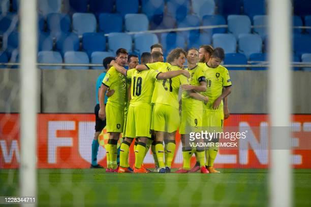 Czech Republic's National team players celebrate their goal during the UEFA Nations League football match Slovakia v Czech Republic in Bratislava,...